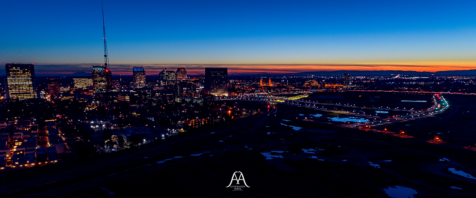 Sacramento Aerial Night Cityscape