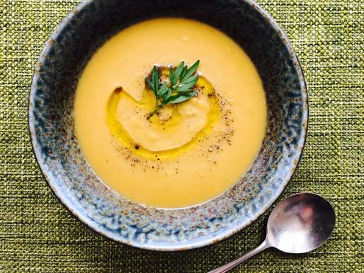 Asparagus End & Sweet Potato Soup