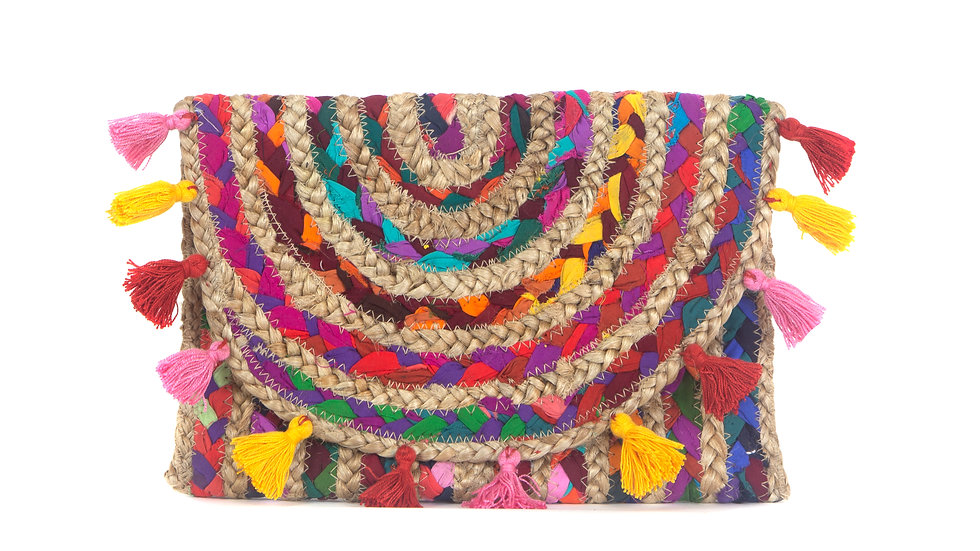Rainbow Clutch with tassels