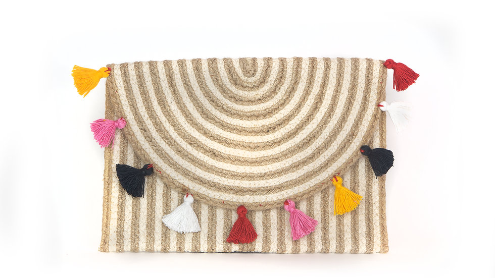 Multi-Colour Tassel Clutch