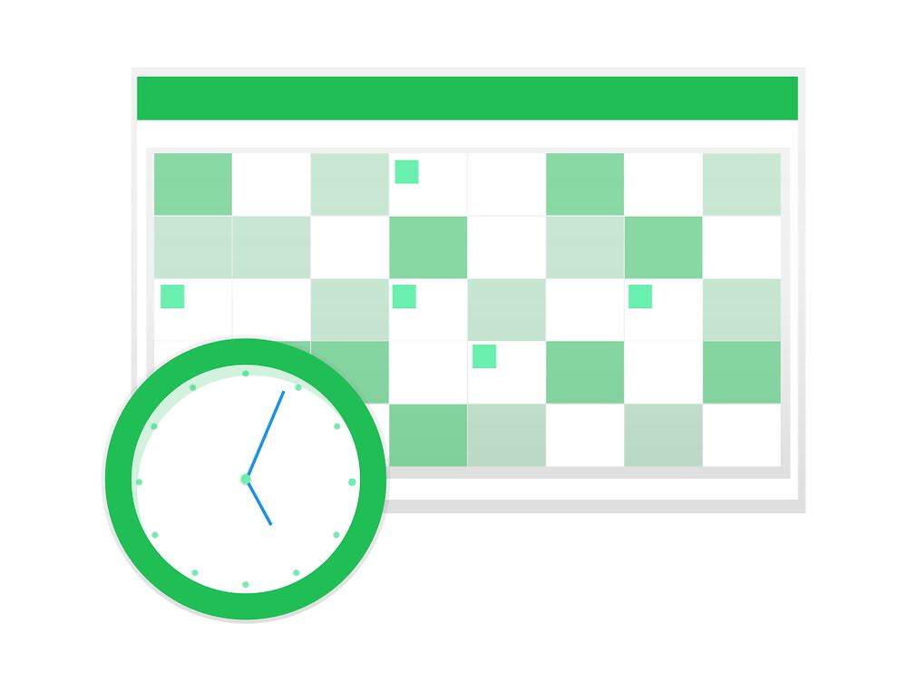 Calendrier faisant référence aux horaires de travail des cadres à temps partiel
