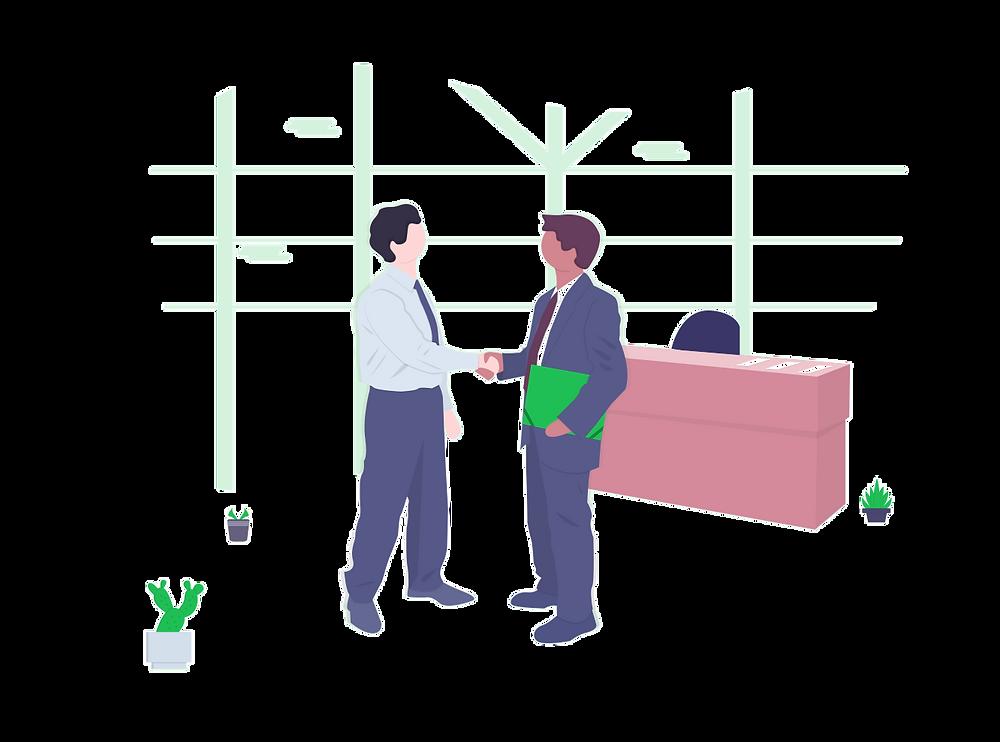 Un employeur sert la main d'un cadre recruté à temps partiel