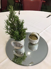 Fresh rosemary sprigs with dried rosemar