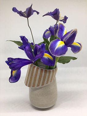 2 tier vessel with stripes and irises.jp