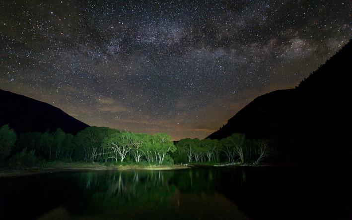 Milky Way over mountain Lake