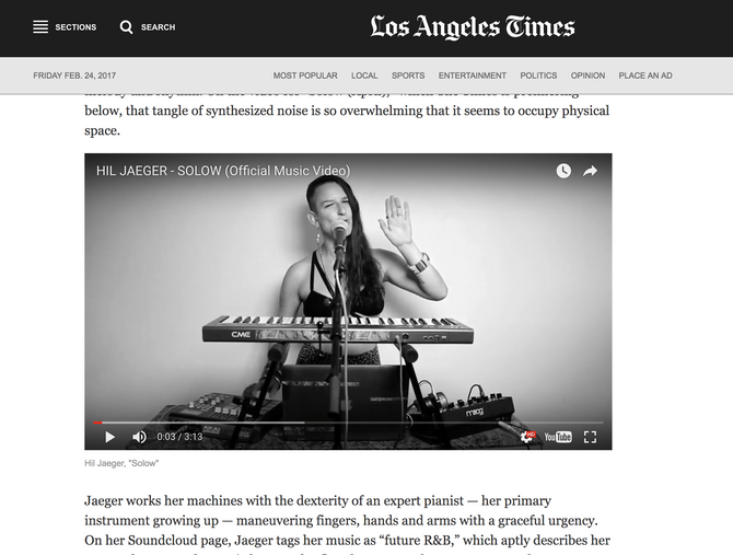 Los Angeles Times Premieres the official SOLOW Music Video