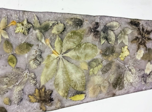 Eco Printing course: painting and printing with leaves, flowers and even weeds.