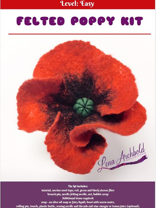 Wet Felted Poppy Flower Kit
