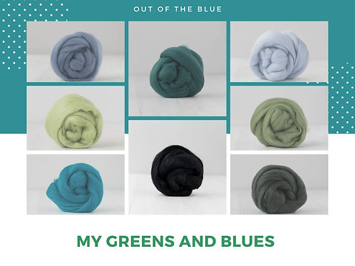 Mix of Merino Wool - My Blues and Greens, 200 grams