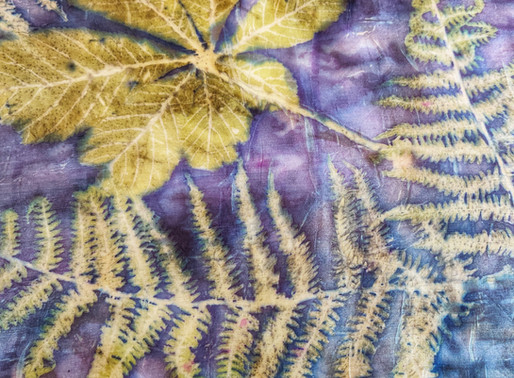Let's print with leaves on silk - our July project part of the membership