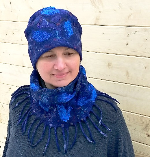 Wet felted hat and neck warmer