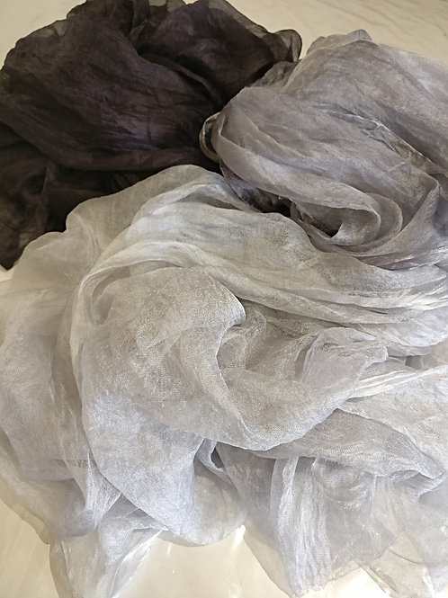 Three Shades of Grey Margilan Gauze hand-woven and hand-dyed silk, 7.5 meters
