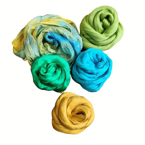 Nuno Felted Materials Pack - Yellow/Blue/Green