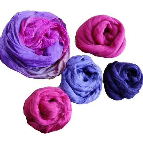 Nuno Felted Materials Pack -Purple / Magenta / Orange