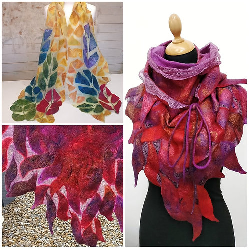 'Stained Glass' Nuno Felted Scarves Online Class