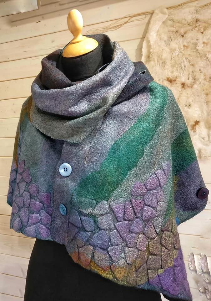 Nuno felted scarf viscose laminated