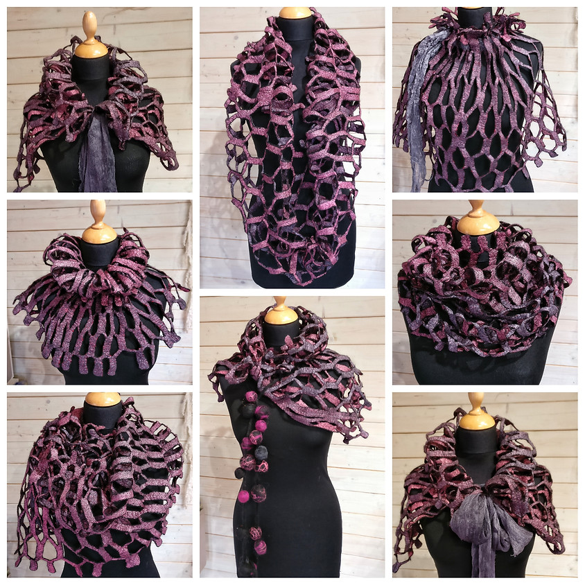 Lace Fine Felted infinity Scarf Workshop