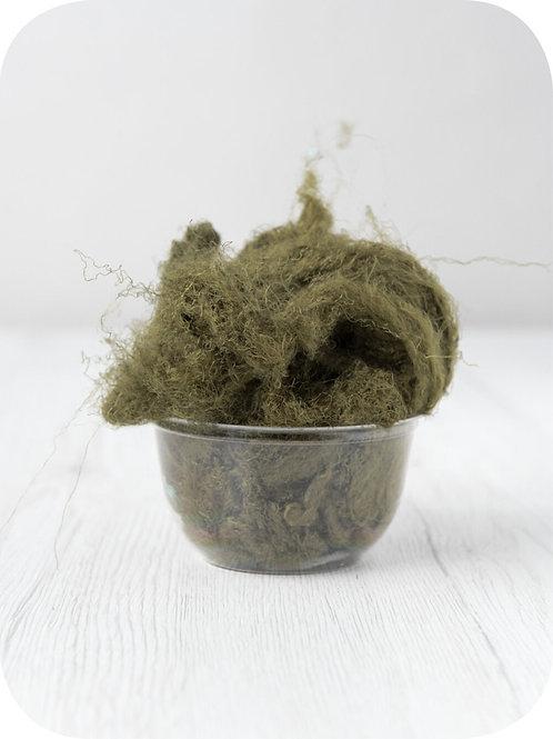 Sari silk waste - OLIVE, 20 grams