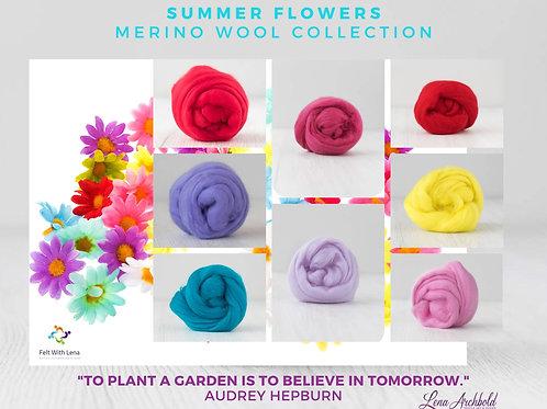 Mix of Merino Wool - Summer Flowers, 200 grams