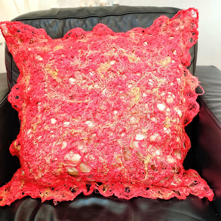Felted Lace & Textured Cushion