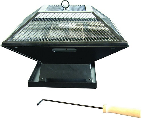 Redwood Leisure Black Square Fire Pit - Patio Heater or BBQ
