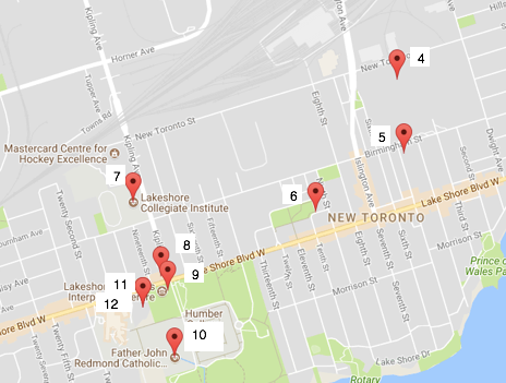 Google map of New Toronto area along Lake Shore Blvd. W. with 9 red pin drops indicating Pod Site locations