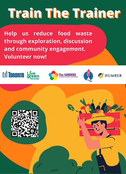 Train The Trainers Advertisement for upcoming program about food waste. Includes decorative graphic about farmer holding basket of corn