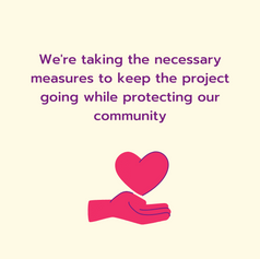 Confirmation about steps taken to keep everyone safe in the Community Gardens with a decorative heart above an open hand element below