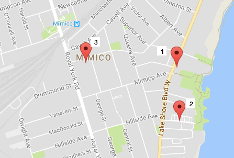 Google map of Mimico area, along Lake Shore Blvd. W. with 3 red pin drops indicating Pod Site locations