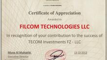Filcom receives recognition from TECOM