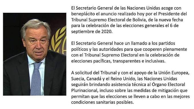 Naciones Unidas hace llamado por elecciones pacíficas, transparentes e inclusivas en Bolivia