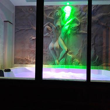 Jacuzzi tableau lumiere verte - Villa Boréale - L'Antre de la tentation