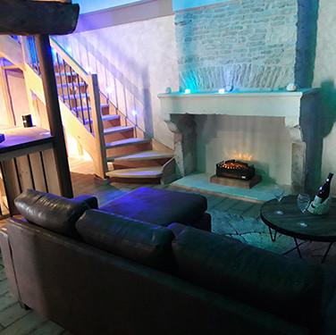 Salon cheminée - Villa Boréale - L'Antre de la tentation