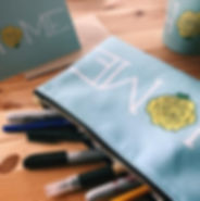 pencil case, stationery, mug, Redbubble print on demand products, HOME with yellow rose, calligrahy pens, Sharpies, pencil, desktop