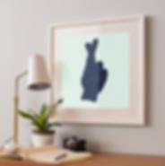 framed picture of crossed fingers, Society 6, desk, lamp