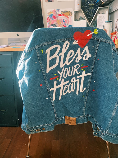 Bless Your Heart Painted Denim Jacket