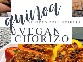 VEGAN CHORIZO AND QUINOA STUFFED BELL PEPPERS