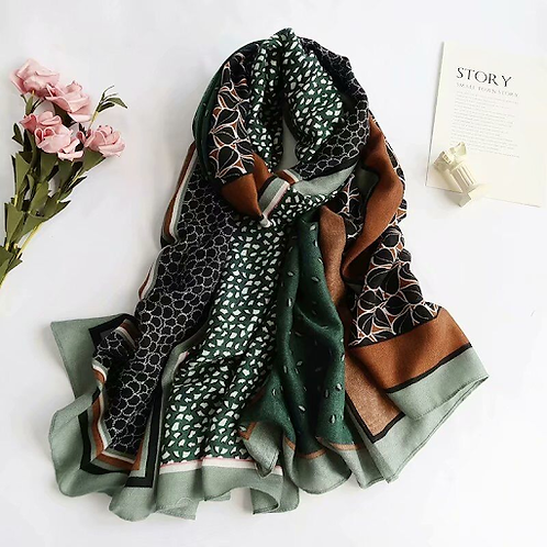 Printed Sheer Cotton Scarf