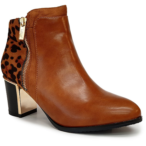 Tan Leopard-Print Greeve Ankle Boots | Lotus