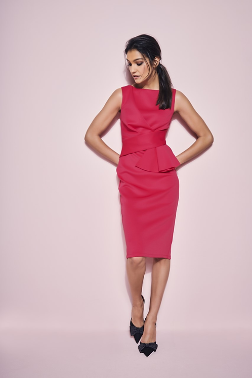 Cerise Scuba Pencil Dress