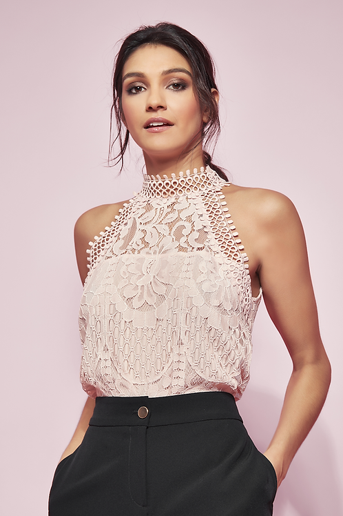 Glamour Lace Top With Racer Neckline