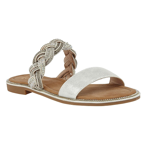 Josie Mule Sandals Silver Diamante | Lotus