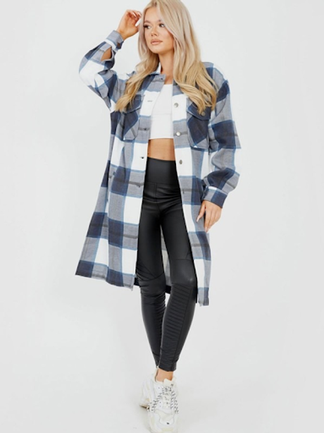 Longline Thick Colour Block Checked Shacket