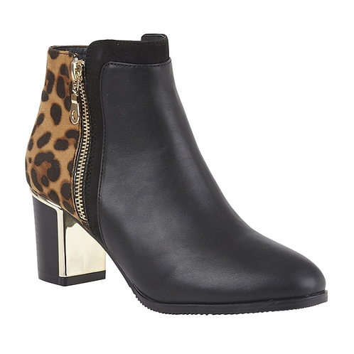 Black Leopard-Print Greeve Ankle Boots | Lotus