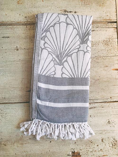 Clare McLaughlin Hand-Painted Shell Print Turkish Beach Towel