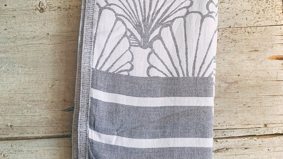 Clare McLaughlin Hand-Painted Shell Print Turkish Towel