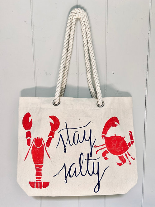 Hand-Painted Stay Salty Nautical Tote