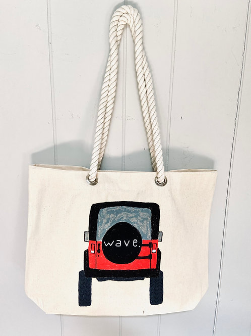 Hand-Painted Wave Tire Cover Nautical Tote