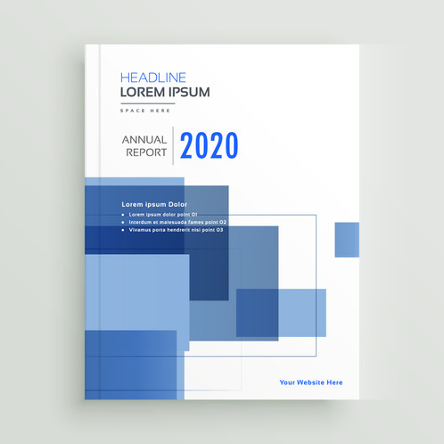 Business Annual Report Brochure Template Design With Blue Geometric Shapes