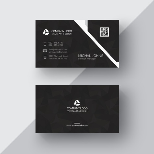black business card with silver details gontobbo organization